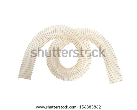 Corrugated polyurethan pipe isolated on white background  - stock photo