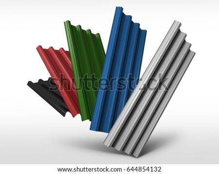 Corrugated Sheet Metal Profiles Various Colors Stock Illustration ...