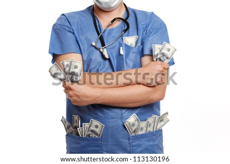 Corrupt doctor standing on white background - stock photo
