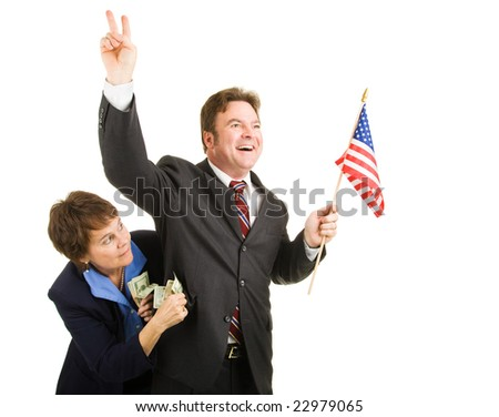 Corrupt politician running for office while taking bribes from special interests. Isolated on white. - stock photo