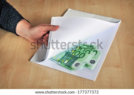 Corrupting person, corruption & bribery  - stock photo