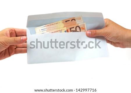 corruption concept with envelope,money - stock photo
