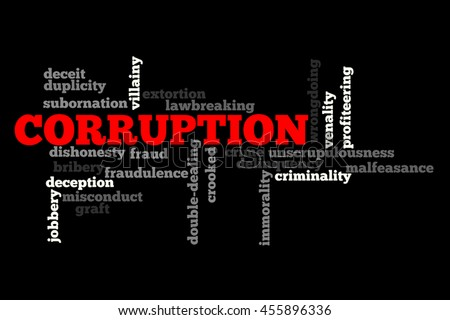 Corruption info text word cloud concept on black background - stock photo