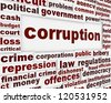 Corruption political poster. Financial bribery warning message - stock photo