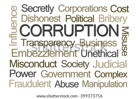 Corruption Word Cloud on White Background - stock photo