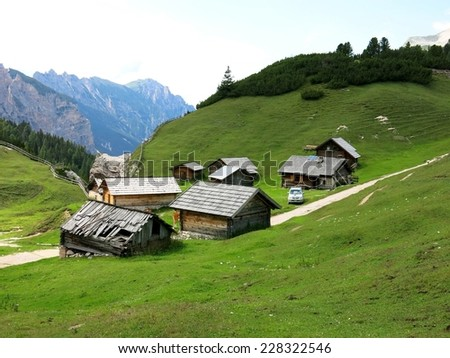 Cortina d'Ampezzo mountain village remote isolated cottage cabin nature. - stock photo