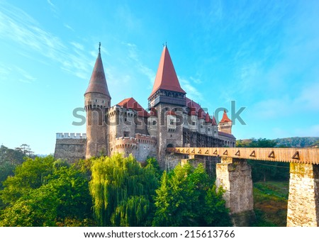 Corvin Castle summer morning view (Hunedoara, Transylvania, Romania).  Was laid out in 1446 - stock photo