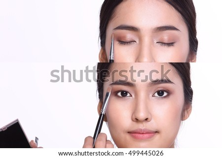 Cosmetic, Applying Make up, Beauty Process, white studio background, Perfect Healthy Skin, eye shadow box palette