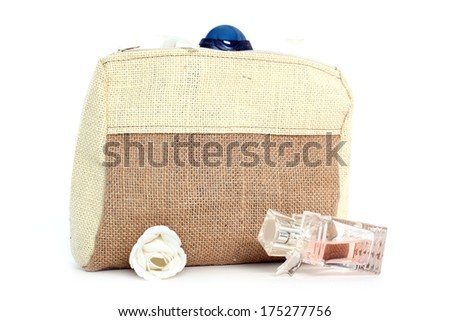 cosmetic bag from natural jute - stock photo