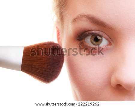 Cosmetic beauty procedures and makeover concept. Closeup part of woman face makeup detail. Applying rouge blusher with brush