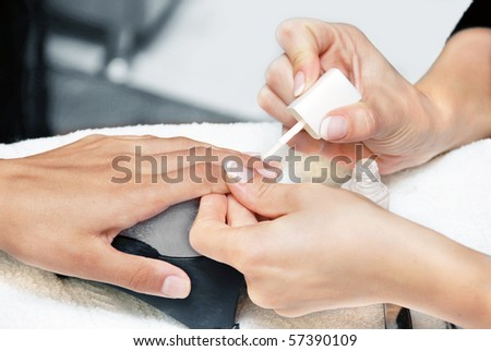 cosmetic beauty treatment for fingernails and hands - stock photo