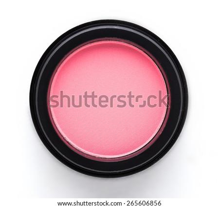 Cosmetic blush or make up powder isolated on white background. - stock photo