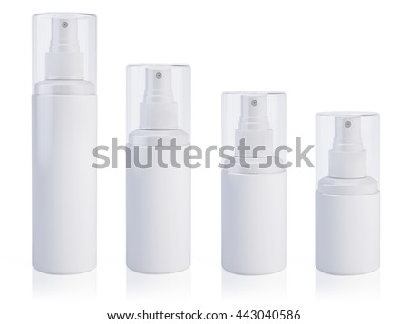 Cosmetic bottle can sprayer containers. Template Mock up for your design. 3d rendering. - stock photo