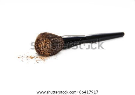 Cosmetic brush with make up - stock photo