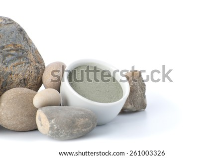 Cosmetic clay with stones on a white background.  - stock photo