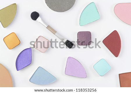 Cosmetic color sample pink, blue, brown, orange, purple vs.. - stock photo