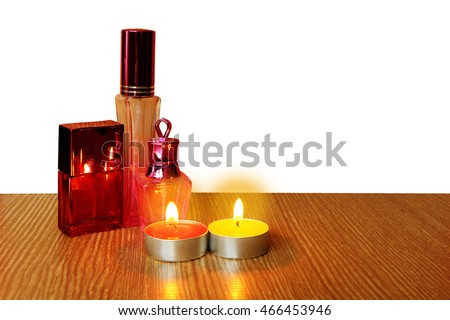 cosmetic container and candle ,isolate white background with clipping path