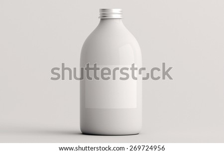 Cosmetic containers isolated on white background - stock photo