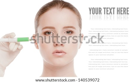 Cosmetic  injection in the female face. Eye and eyebrow zone. Isolated on white