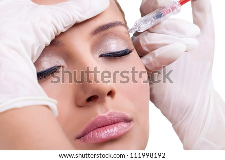 Cosmetic injection of botox, close-up - stock photo