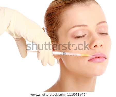 Cosmetic medicine injection , isolated on white background