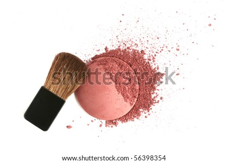 Cosmetic powder brush and crushed blush palette isolated on white - stock photo