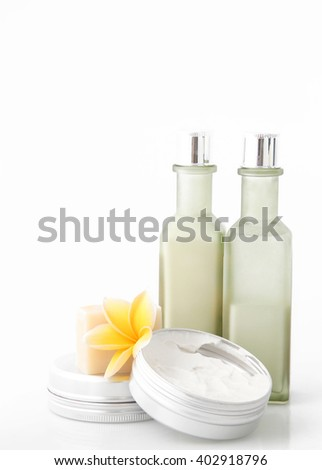 Cosmetic products on the white background