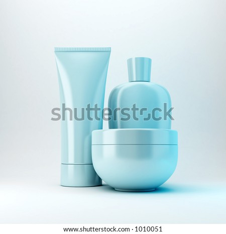 Cosmetic products, with no brand, you can write your own brand on it. - stock photo