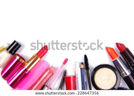 cosmetic set isoalted frame border  background - stock photo