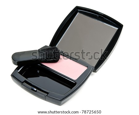 cosmetic set rouge with mirror and brush in a black plastic casing with a white background