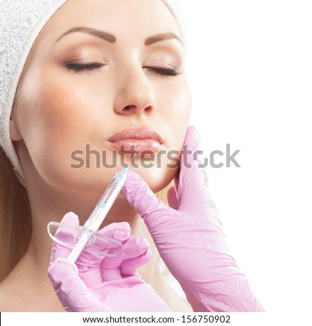 Cosmetic therapy over white background (closeup image) - stock photo