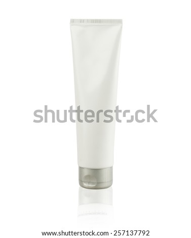 Cosmetic tube closeup isolated on white background