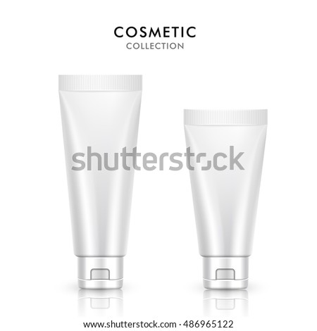 Cosmetic tube template design, 3D illustration container of cream or gel collection in pearl white, objects isolated on white background
