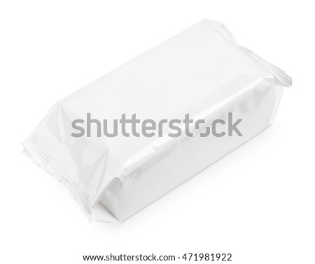 Cosmetic wet wipes big package isolated on white background with clipping path