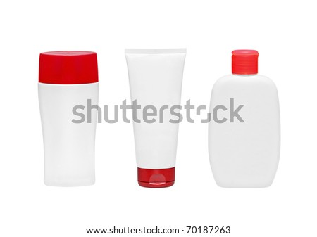 cosmetical bottles on white - stock photo
