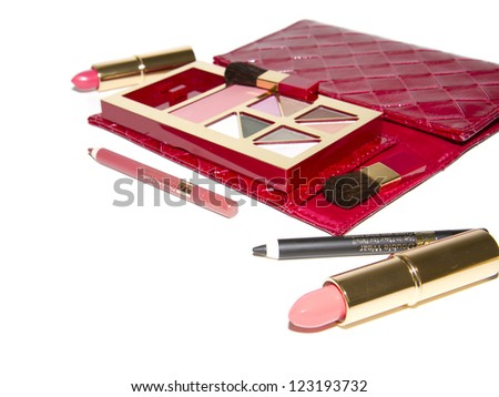 cosmetics accessories isolated on white background