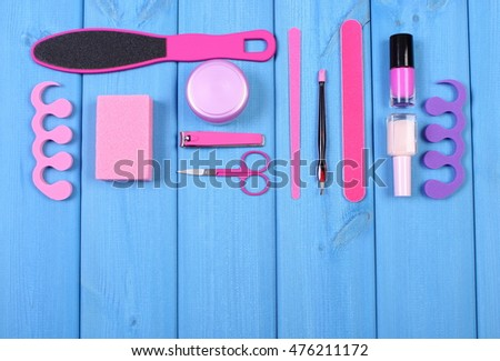 Cosmetics and accessories for manicure or pedicure, copy space for text or inscription, concept of nail, hand and foot care