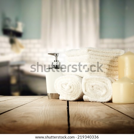 cosmetics and towels  - stock photo