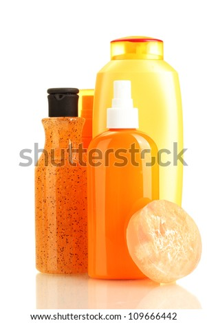 cosmetics bottles and soap isolated on white - stock photo