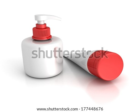 cosmetics container and bottle on white background - stock photo