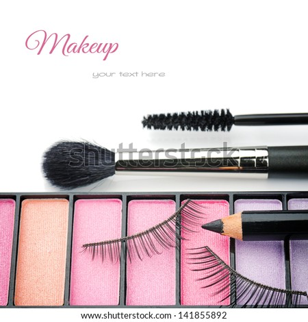 Cosmetics for eye makeup isolated over white - stock photo