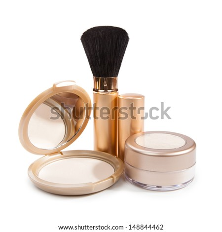 Cosmetics for make-up isolated on white background - stock photo