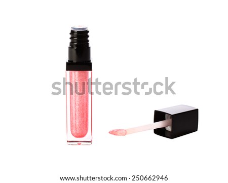 Cosmetics lipstick pink isolated on white background with a brush. - stock photo