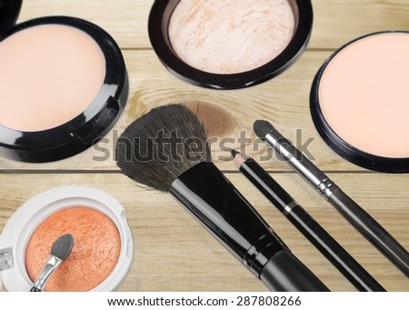 Cosmetics, Make-up, Make-Up Brush. - stock photo