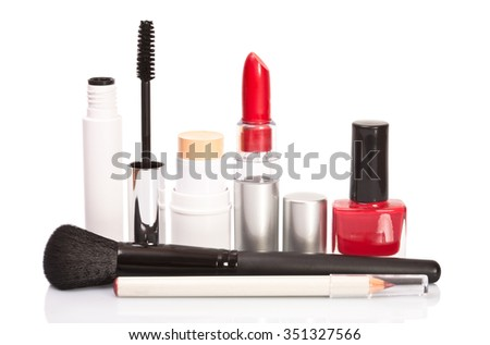 Cosmetics makeup on a white background, isolated with shadows