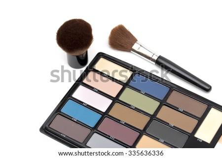 cosmetics on the white background - stock photo