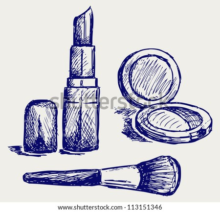 Cosmetics set, for fashion design. Raster version - stock photo