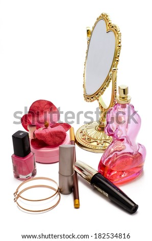 cosmetics with a mirror on a white background - stock photo