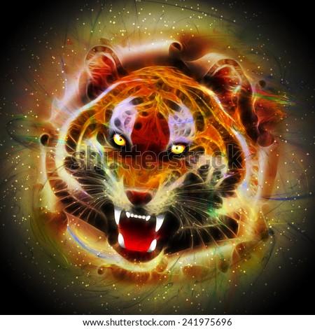 Cosmic Fire Tiger Roar  - stock photo