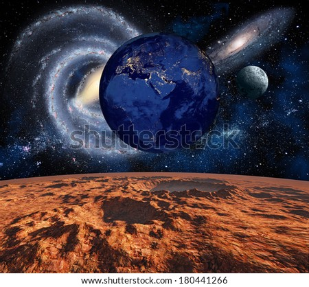 Cosmic landscape, view from the Mars. Elements of this image furnished by NASA - stock photo